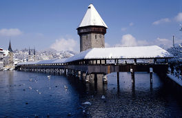 wooden covered bridge in luzern