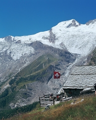 summer skiing on the glacier in saas-fee