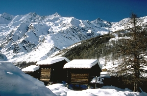 pictureesque wooden stadels in saas-fee