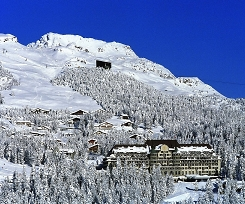 st-moritz snowy village and grand hotel
