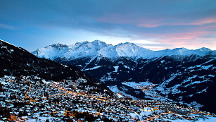 verbier village and sunset