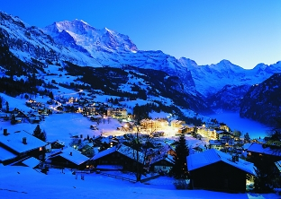 wengen village at night