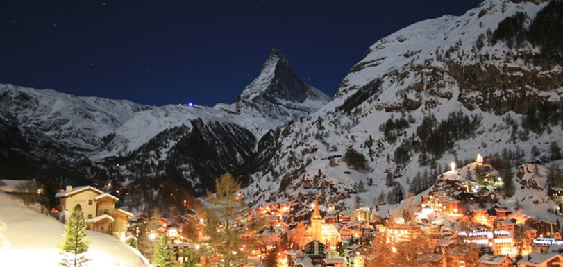 Romantic Swiss Villages and Ski Holidays - Zermatt Town by Full Moon-light
