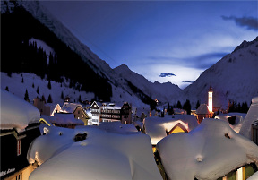 andermatt village at night with snow